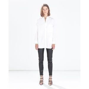 NWT Zara Size S Faux Leather Black Leggings